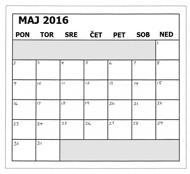 motnje kranjenja koledar